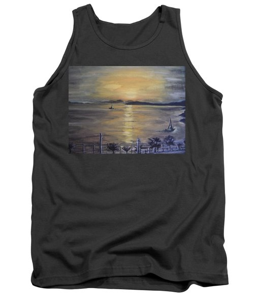 Tank Top featuring the painting Golden Sea View by Teresa White