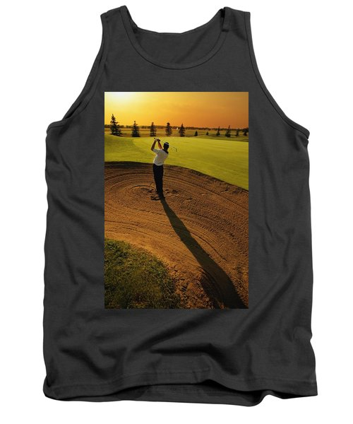 Golfer Taking A Swing From A Golf Bunker Tank Top