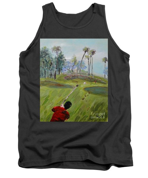 Tank Top featuring the painting Golfing At Monarch by Maria Langgle