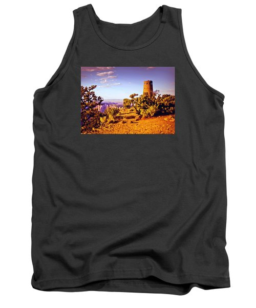 Tank Top featuring the painting Grand Canyon National Park Golden Hour Watchtower by Bob and Nadine Johnston
