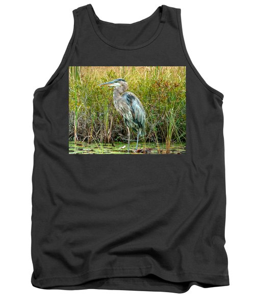 Great Blue Heron Waiting For Supper Tank Top