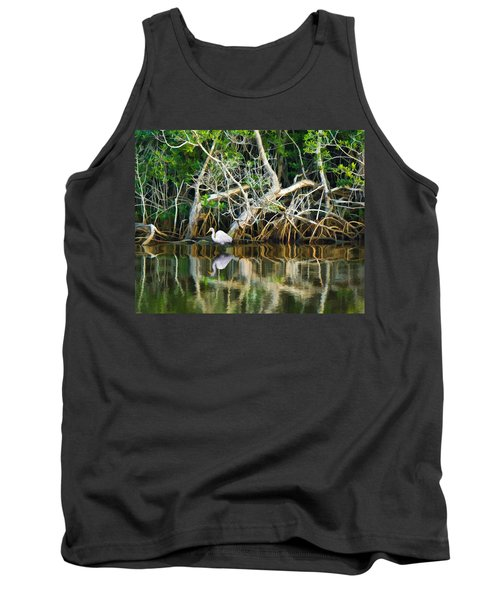 Great White Egret And Reflection In Swamp Mangroves Tank Top
