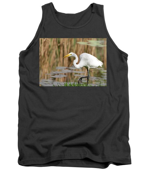 Great White Egret By The River Tank Top
