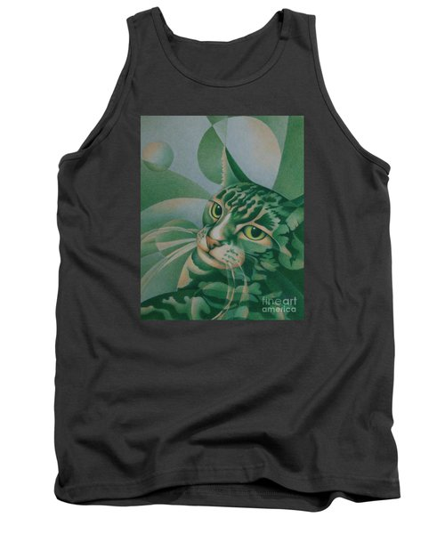 Tank Top featuring the painting Green Feline Geometry by Pamela Clements