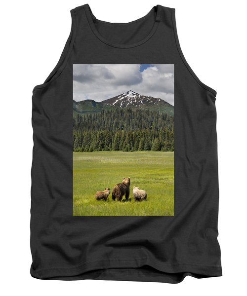 Grizzly Bear Mother And Cubs In Meadow Tank Top