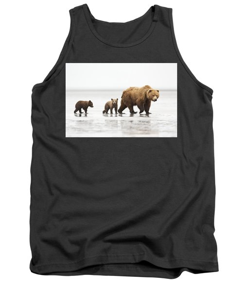 Grizzly Bear Mother And Cubs Lake Clark Tank Top