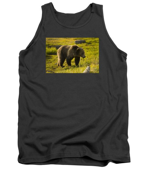 Grizzly Bear-signed-#4477 Tank Top by J L Woody Wooden