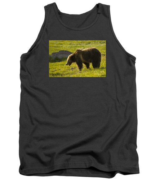 Grizzly Bear-signed-#4535 Tank Top by J L Woody Wooden