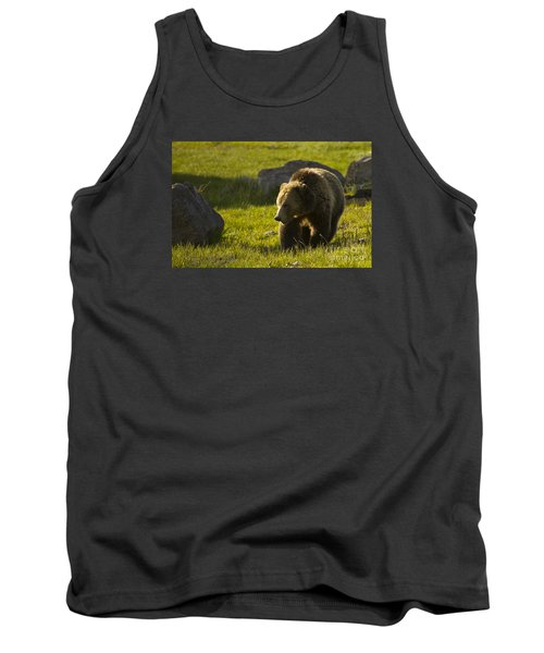 Grizzly Bear-signed-#4545 Tank Top by J L Woody Wooden