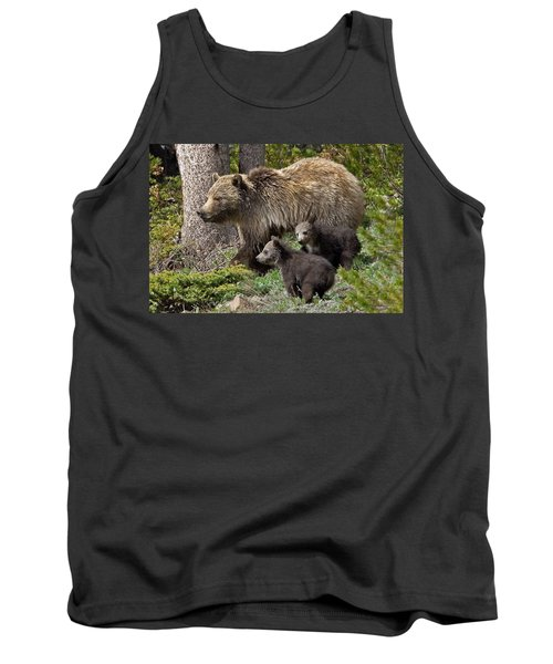 Grizzly Bear With Cubs Tank Top