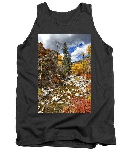 Tank Top featuring the photograph Grizzly Creek Cottonwoods Vertical by Jeremy Rhoades
