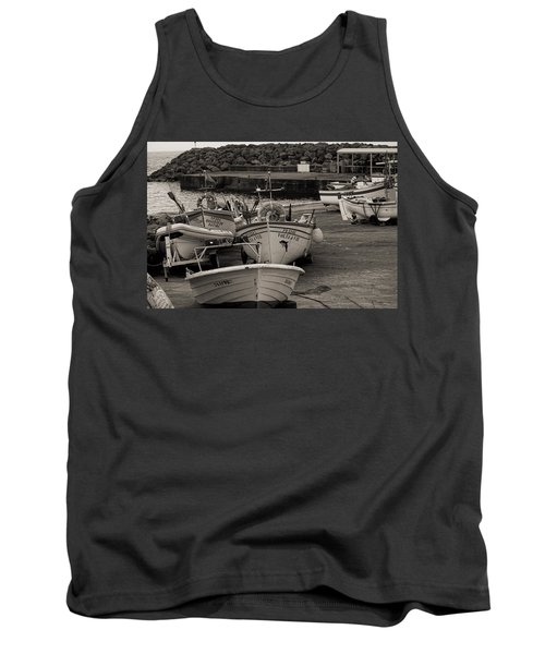 Groups Of Fishing Boats With Life Preservers Docked  Tank Top