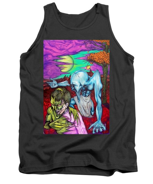 Tank Top featuring the drawing Growing Evils by Michael  TMAD Finney