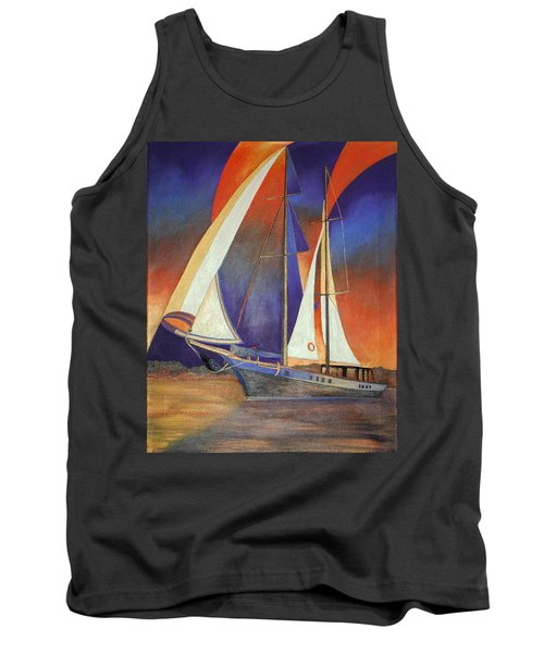 Gulet Under Sail Tank Top by Tracey Harrington-Simpson