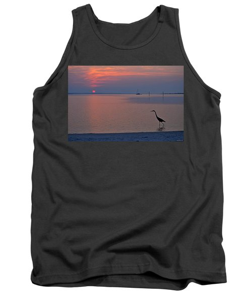 Tank Top featuring the photograph Harry The Heron Fishing On Santa Rosa Sound At Sunrise by Jeff at JSJ Photography