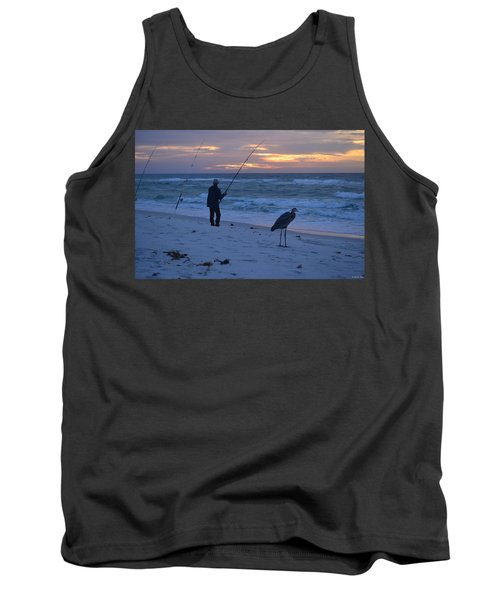 Harry The Heron Fishing With Fisherman On Navarre Beach At Sunrise Tank Top by Jeff at JSJ Photography