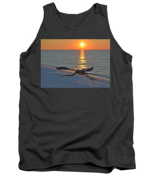 Tank Top featuring the photograph Harry The Heron Takes Flight To Reposition His Guard Over Navarre Beach At Sunrise by Jeff at JSJ Photography