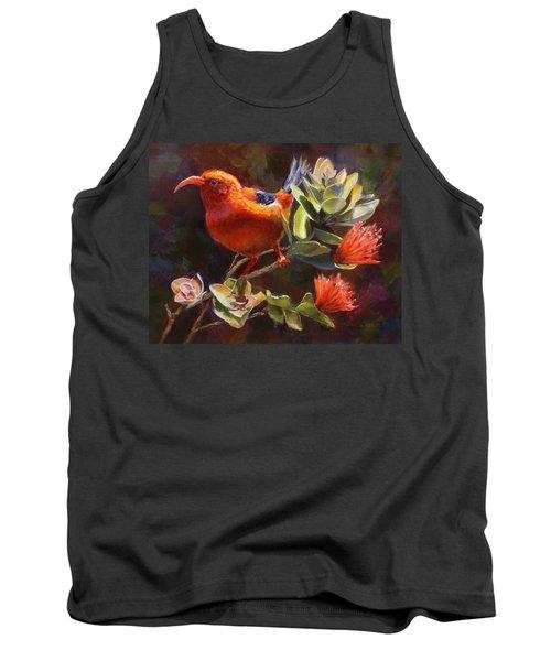 Hawaiian IIwi Bird And Ohia Lehua Flower Tank Top