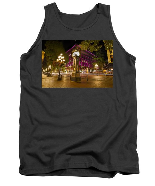 Tank Top featuring the photograph Historic Steam Clock In Gastown Vancouver Bc by JPLDesigns