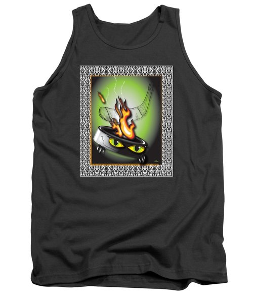 Hockey Puck In Flames Tank Top