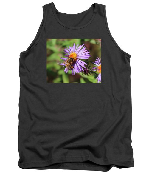 Honeybee On Purple Wild Aster Tank Top by Lucinda VanVleck