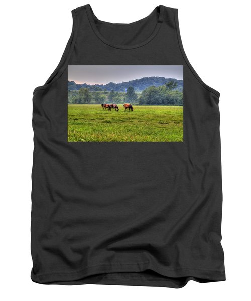 Horses In A Field 2 Tank Top by Jonny D