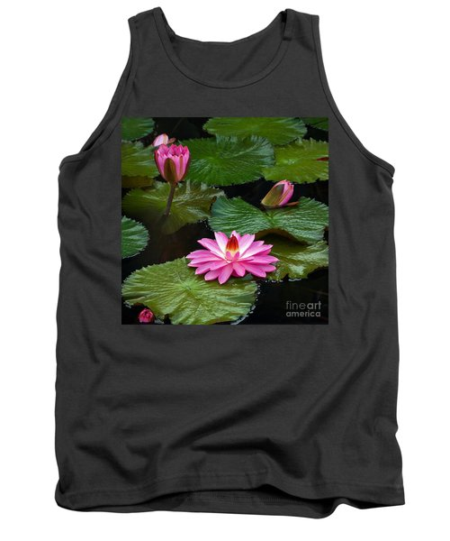 Hot Pink And Green Tropical Waterlilies Tank Top