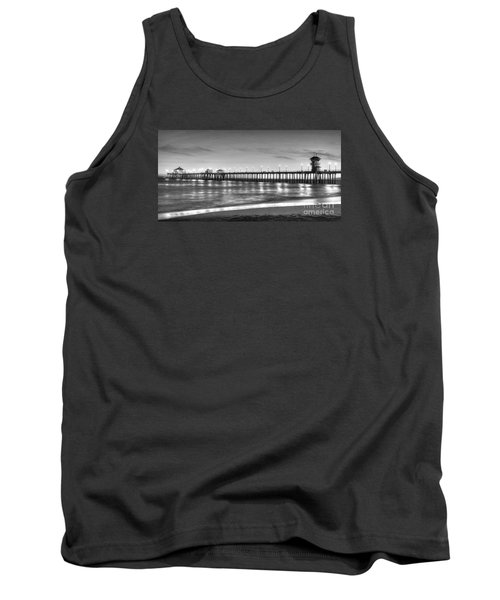 Tank Top featuring the photograph Huntington Beach Pier Twilight - Black And White by Jim Carrell