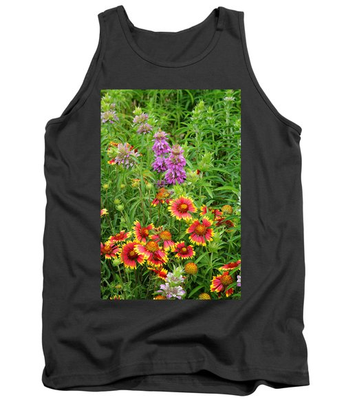 Indian Blankets And Lemon Horsemint Tank Top by Lynn Bauer