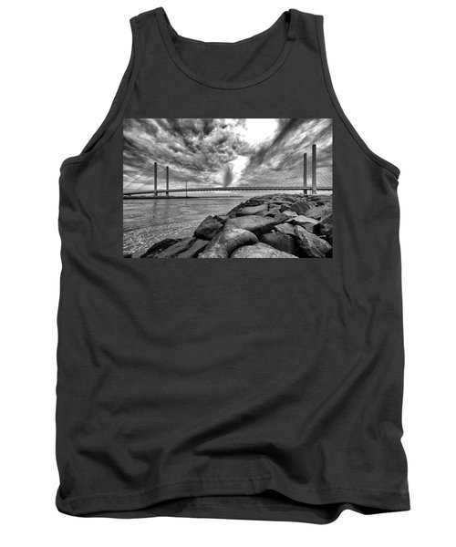 Indian River Bridge Clouds Black And White Tank Top