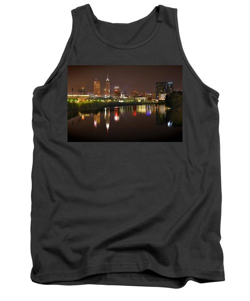 Indianapolis Skyline At Night Indy Downtown Color Panorama Tank Top