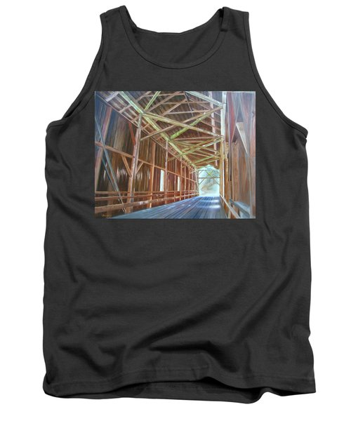Tank Top featuring the painting Inside Felton Covered Bridge by LaVonne Hand