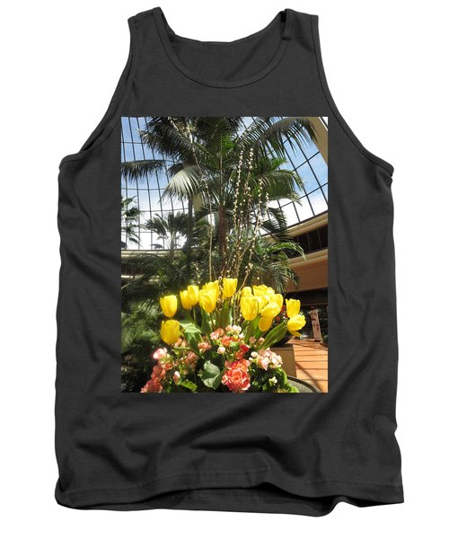 Tank Top featuring the photograph Interior Decorations Butterfly Gardens Vegas Golden Yellow Tulip Flowers by Navin Joshi