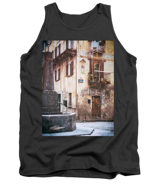 Tank Top featuring the photograph Italian Square In  Snow by Silvia Ganora