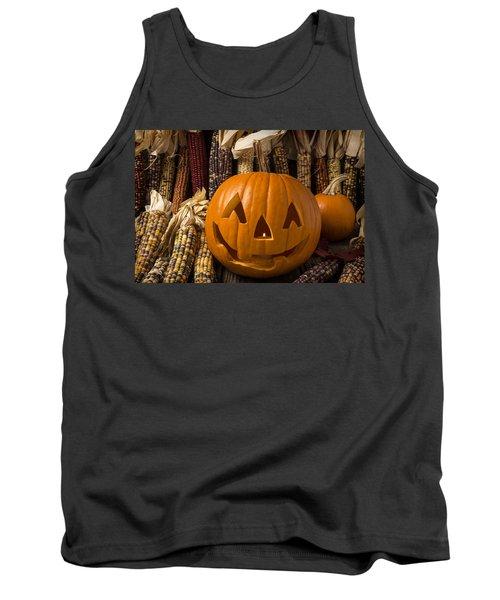Jack-o-lantern And Indian Corn  Tank Top