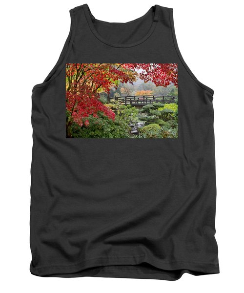 Tank Top featuring the photograph Japanese Maple Trees By The Bridge In Fall by JPLDesigns