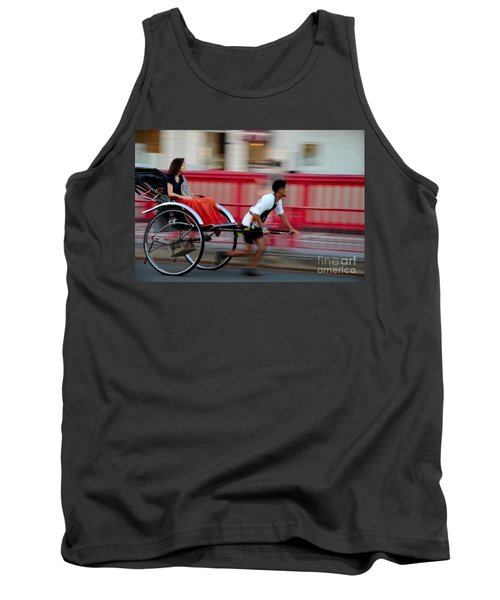 Japanese Tourists Ride Rickshaw In Tokyo Japan Tank Top by Imran Ahmed