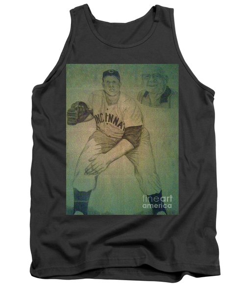 Tank Top featuring the drawing Joe Nuxhall by Christy Saunders Church