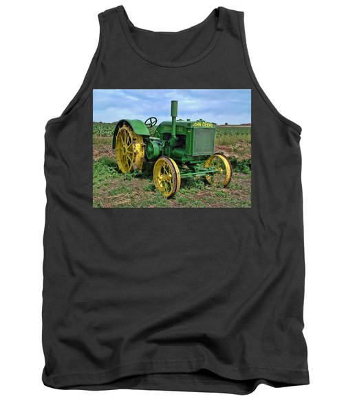 John Deere Tractor Hdr Tank Top by Ken Smith
