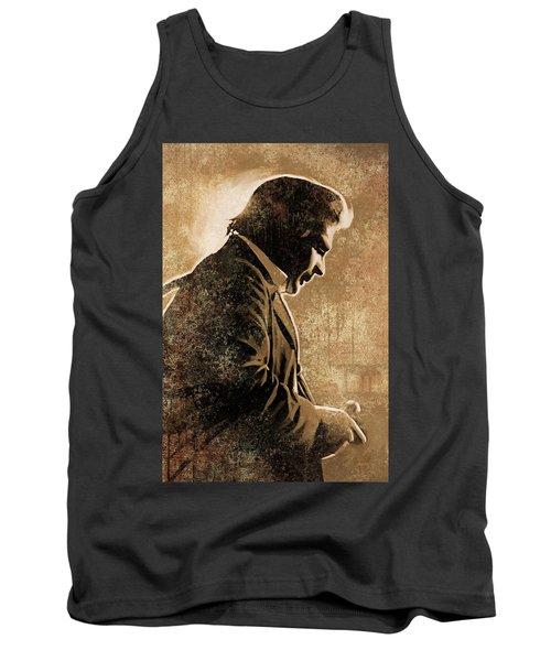 Johnny Cash Artwork Tank Top by Sheraz A