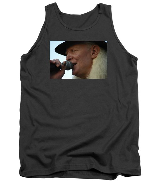 Tank Top featuring the photograph Johnny Winter Sings by Mike Martin