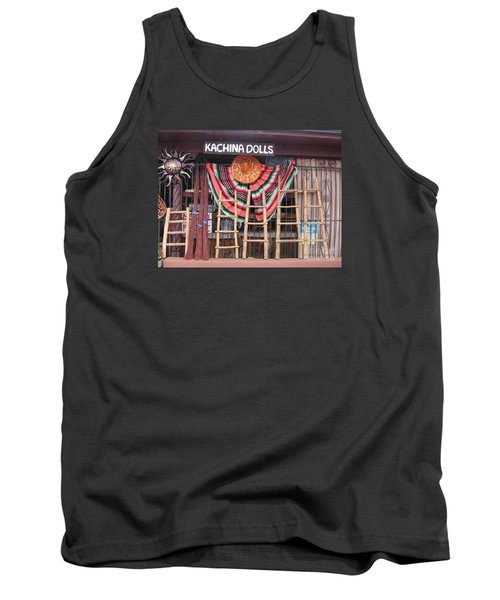 Tank Top featuring the photograph Kachina Dolls Local Store Front by Dora Sofia Caputo Photographic Art and Design