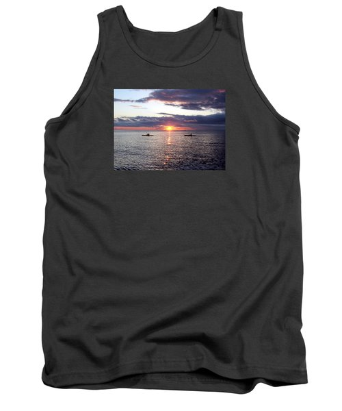 Kayaks At Sunset Tank Top by David T Wilkinson