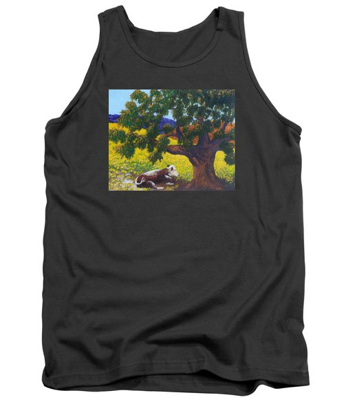 Tank Top featuring the painting Kern County Cow by Katherine Young-Beck