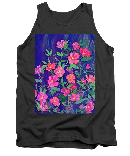 Tank Top featuring the mixed media La Vie En Rose by Teresa Ascone