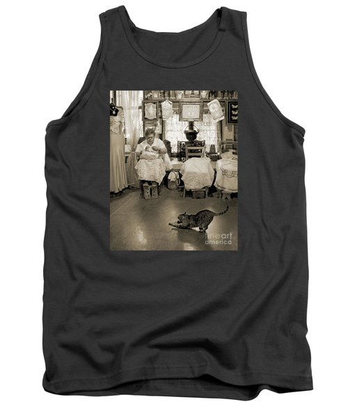 Tank Top featuring the photograph Lace Lady Of Burano-bw by Jennie Breeze