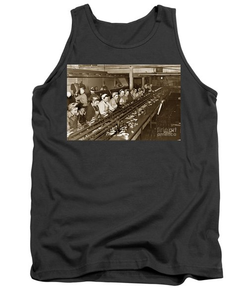 Ladies Packing Sardines In One Pound Oval Cans In One Of The Over 20 Cannery's Circa 1948 Tank Top