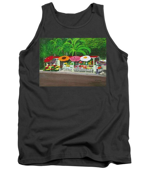 Laguna Beach Flower Stand Tank Top by Mike Robles