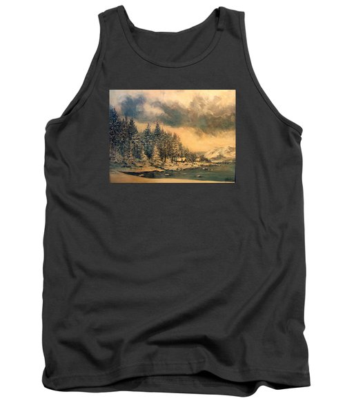 Tank Top featuring the painting Lake Tahoe Winter Colors 2 by Donna Tucker