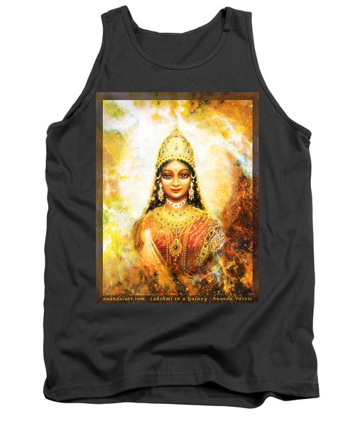 Lakshmi Goddess Of Abundance In A Galaxy Tank Top by Ananda Vdovic